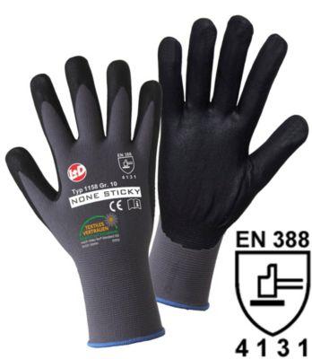 Handschuhe NON STICKY FOAM - grau / schwarz, VE 12 Paar