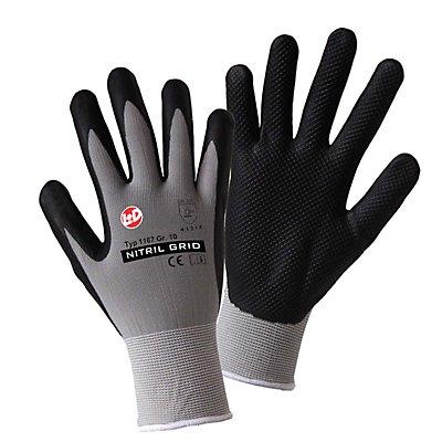 Handschuhe NITRIL GRID, grau / schwarz, VE 12 Paar, Größe 9