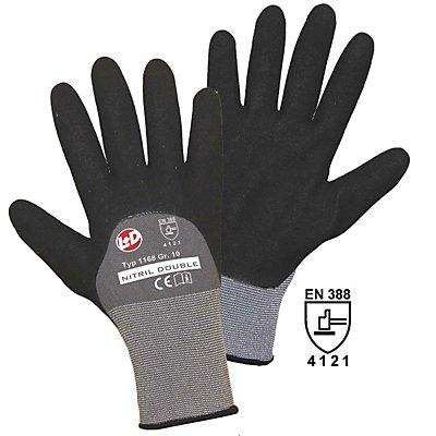 Handschuhe NITRIL DOUBLE GRIP - schwarz / grau, VE 12 Paar