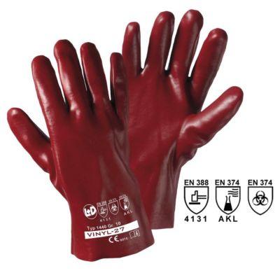 Handschuhe VINYL-27, rotbraun, VE 12 Paar, Länge 27 cm