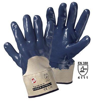 Handschuhe CROSS-NITRIL, blau / natur, VE 12 Paar, Universalgröße