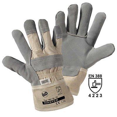 Handschuhe MASTER, Rindspaltleder, grau, VE 12 Paar, Größe 10