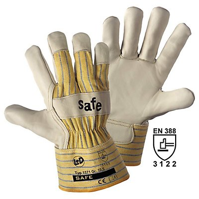 Top-Rindnarbenleder-Handschuhe SAFE, beige / gelb, VE 12 Paar, Größe 10,5