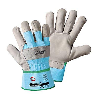 Rindnarbenleder-Handschuhe GRANIT - grau / hellblau, VE 12 Paar