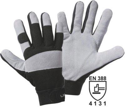 Rindspaltleder-Handschuhe UTILITY - grau / schwarz, VE 12 Paar