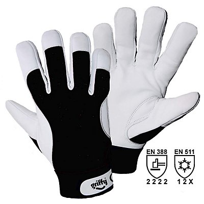 Winter-Montagehandschuhe - weiß / schwarz, VE 10 Paar