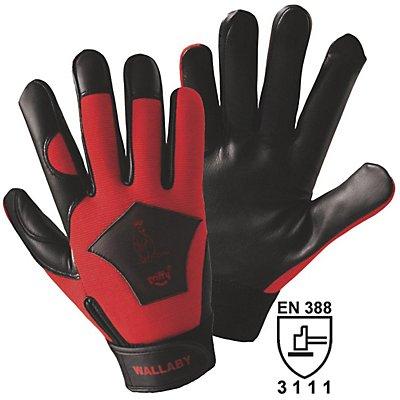 Handschuhe WALLABY - schwarz / rot, VE 10 Paar