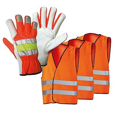 Sicherheits-Pannenset, 3 Warnwesten und 1 Paar Pannenhandschuhe, Set