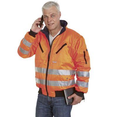 Warnschutzpilotjacke STROMBOLI - leuchtorange / dunkelblau