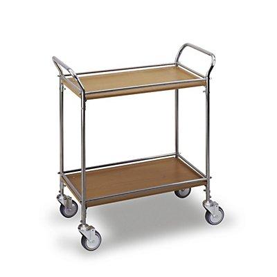 Servierwagen Edelstahl / Holzdekor - mit 2 Etagen