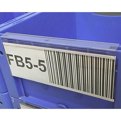 Hartkunststofftaschen, VE 100 Stk, zur Kennzeichnung von Kunststoffbehältern, BxH 210 x 85 mm