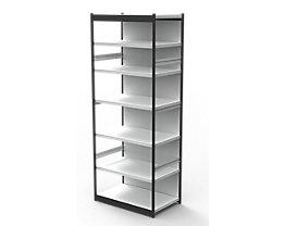 Büro-Regalsystem, mit Rückwand - Regalhöhe 2600 mm - Grundregal, Breite x Tiefe 1000 x 500 mm