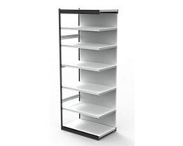 Büro-Regalsystem, mit Rückwand - Regalhöhe 2600 mm - Anbauregal, Breite x Tiefe 750 x 600 mm