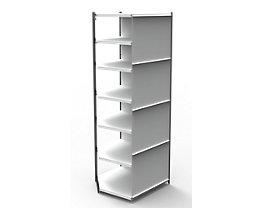 Büro-Regalsystem, mit Rückwand - Regalhöhe 2600 mm - Eck-Anbauregal, Breite x Tiefe 970 x 600 mm