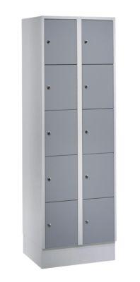 Wolf Stahlspind - mit Bodensockel, 10 Fächer, 300 mm, lichtgrau / silbergrau