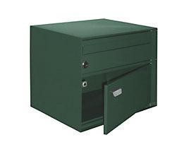 Briefkasten, BxHxT 390 x 315 x 310 mm - Stahlblech, pulverbeschichtet, moosgrün