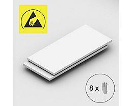 Tablette supplémentaire - pour rayonnage emboîtable antistatique, lot de 2 - largeur tablette 1300 mm, profondeur tablette 600 mm