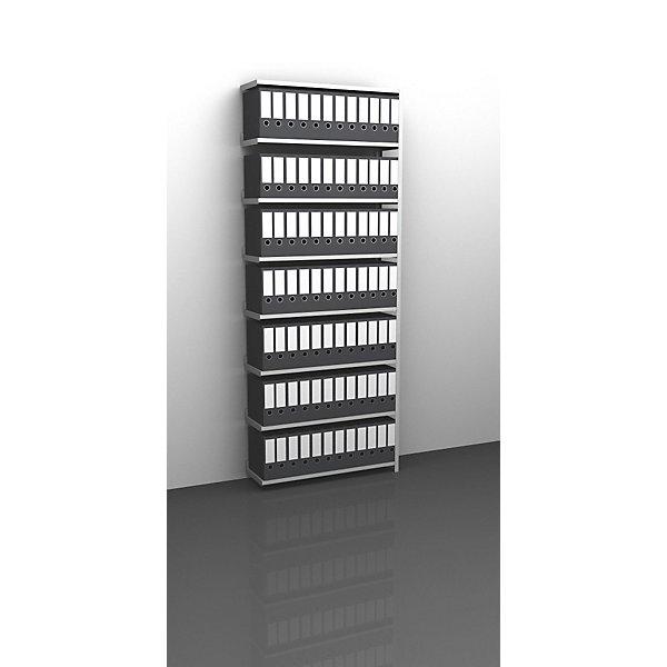 Akten-Schraubregal  lichtgrau RAL 7035 - Regalhöhe 2550 mm - Anbauregal  Breite x Tiefe 1000 x 300 mm