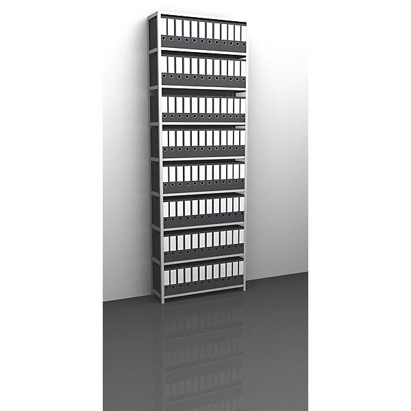 Akten-Schraubregal  lichtgrau RAL 7035 - Regalhöhe 2900 mm - Grundregal  Breite x Tiefe 1000 x 300 mm