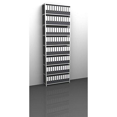 Akten-Schraubregal, lichtgrau RAL 7035 - Regalhöhe 2900 mm - Grundregal, Breite x Tiefe 750 x 300 mm