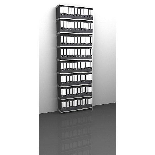 Akten-Schraubregal  lichtgrau RAL 7035 - Regalhöhe 2900 mm - Anbauregal  Breite x Tiefe 1000 x 300 mm