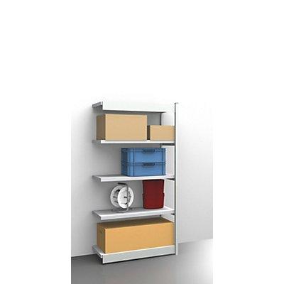 hofe Stabil-Steckregal, einseitig - Regalhöhe 2000 mm, lichtgrau/verzinkt, Bodenbreite 1025 mm