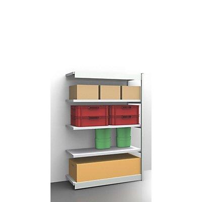 hofe Stabil-Steckregal, einseitig - Regalhöhe 2000 mm, lichtgrau/verzinkt, Bodenbreite 1325 mm
