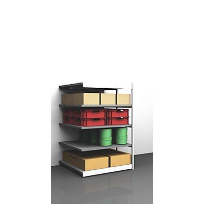 hofe Stabil-Steckregal, doppelseitig - Regalhöhe 2000 mm, lichtgrau/verzinkt, Bodenbreite 1025 mm