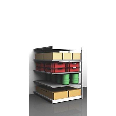 Stabil-Steckregal, doppelseitig - Regalhöhe 2000 mm, lichtgrau/verzinkt, Bodenbreite 1025 mm