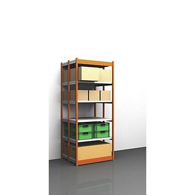 hofe Stabil-Steckregal, doppelseitig - Regalhöhe 2500 mm, orange/verzinkt, Bodenbreite 1025 mm