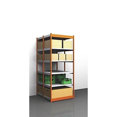Stabil-Steckregal, doppelseitig - Regalhöhe 2500 mm, orange/verzinkt, Bodenbreite 1025 mm