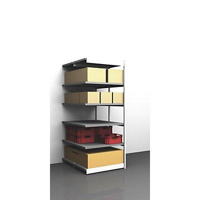 hofe Stabil-Steckregal, doppelseitig - Regalhöhe 2500 mm, lichtgrau/verzinkt, Bodenbreite 1025 mm