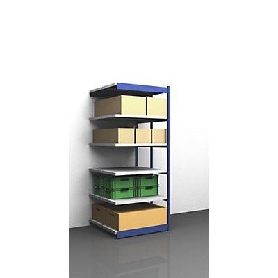 hofe Stabil-Steckregal, doppelseitig - Regalhöhe 2500 mm, blau/verzinkt, Bodenbreite 1025 mm