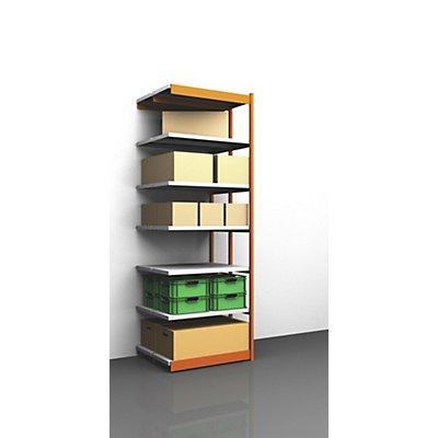 hofe Stabil-Steckregal, doppelseitig - Regalhöhe 3000 mm, orange/verzinkt, Bodenbreite 1025 mm