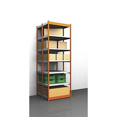 Stabil-Steckregal, doppelseitig - Regalhöhe 3000 mm, orange/verzinkt, Bodenbreite 1025 mm