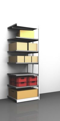 Stabil-Steckregal, doppelseitig - Regalhöhe 3000 mm, lichtgrau/verzinkt, Bodenbreite 1025 mm