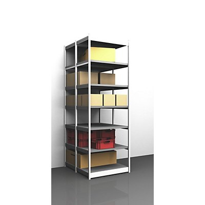hofe Stabil-Steckregal, doppelseitig - Regalhöhe 3000 mm, lichtgrau/verzinkt, Bodenbreite 1025 mm