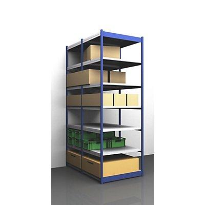 Stabil-Steckregal, doppelseitig - Regalhöhe 3000 mm, blau/verzinkt, Bodenbreite 1025 mm