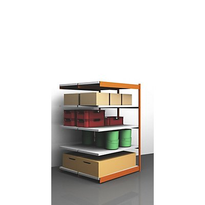 hofe Stabil-Steckregal, doppelseitig - Regalhöhe 2000 mm, orange/verzinkt, Bodenbreite 1325 mm