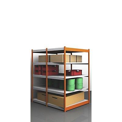 Stabil-Steckregal, doppelseitig - Regalhöhe 2000 mm, orange/verzinkt, Bodenbreite 1325 mm