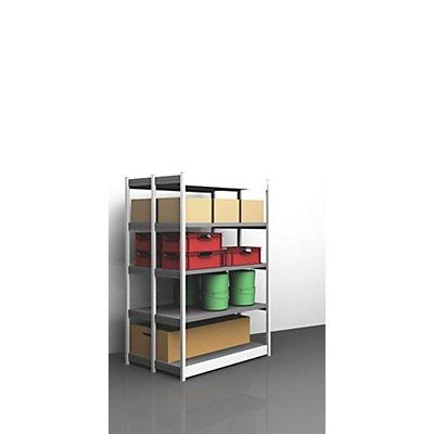Stabil-Steckregal, doppelseitig - Regalhöhe 2000 mm, lichtgrau/verzinkt, Bodenbreite 1325 mm