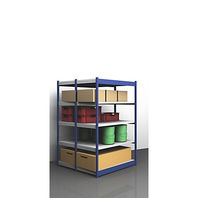 Stabil-Steckregal, doppelseitig - Regalhöhe 2000 mm, blau/verzinkt, Bodenbreite 1325 mm