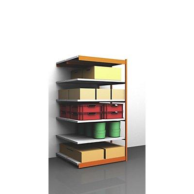 hofe Stabil-Steckregal, doppelseitig - Regalhöhe 2500 mm, orange/verzinkt, Bodenbreite 1325 mm