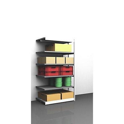 hofe Stabil-Steckregal, doppelseitig - Regalhöhe 2500 mm, lichtgrau/verzinkt, Bodenbreite 1325 mm