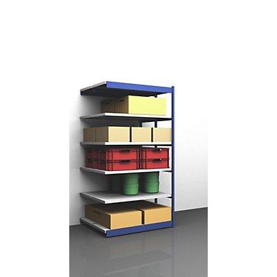 hofe Stabil-Steckregal, doppelseitig - Regalhöhe 2500 mm, blau/verzinkt, Bodenbreite 1325 mm