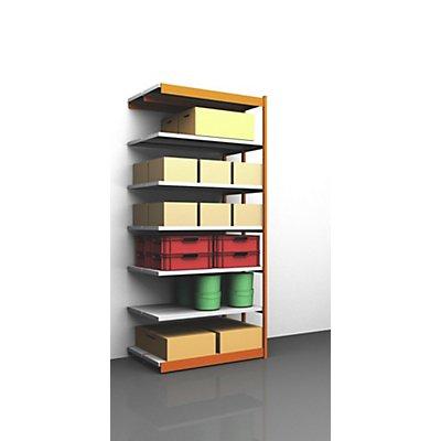 Stabil-Steckregal, doppelseitig - Regalhöhe 3000 mm, orange/verzinkt, Bodenbreite 1325 mm