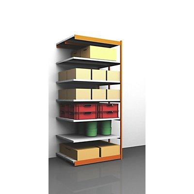 hofe Stabil-Steckregal, doppelseitig - Regalhöhe 3000 mm, orange/verzinkt, Bodenbreite 1325 mm