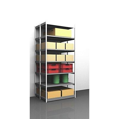 hofe Stabil-Steckregal, doppelseitig - Regalhöhe 3000 mm, lichtgrau/verzinkt, Bodenbreite 1325 mm