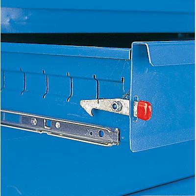 EUROKRAFT Montagewagen - 1 Schrank, 1 Schubladenschrank, bicolor - Korpus lichtblau, Fronten weißaluminium, MDF-Arbeitsplatte