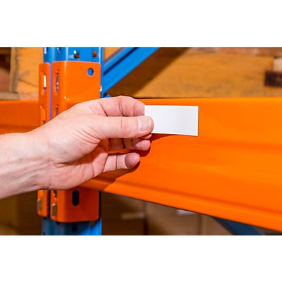 Magnet-Lagerschilder - weiß - HxB 20 x 80 mm, VE 100 Stk